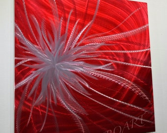 "24"" Abstract modern red Alien Flower METAL painting art contemporary classy office decor shiny home wall sculpture hand made Original - Lubo"