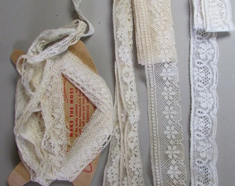 """Vintage 1920s Lace Lot Machine Made 4 Patterns White and Ivory 1/2""""-1 1/4"""" width Yards Vintage Trim Unused Vintage Sewing Notions"""