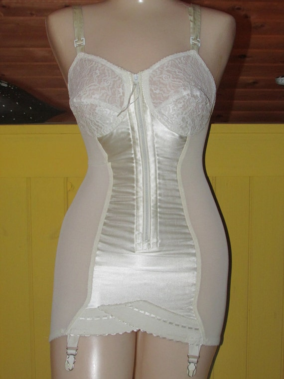 Vintage 1950s Full Body Corset Girdle Lace Bra Stocking