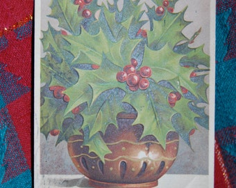 Antique Christmas Post Card of a Brass Urn Filled with Holly & Berries Postmarked December 21, 1908 from New York to South Carolina  epsteam