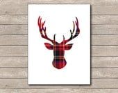 Red Plaid Christmas Printable, Christmas Art Print, Red Deer, Reindeer Art 3