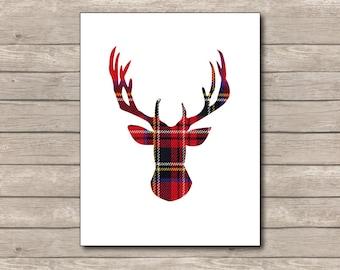 Red Plaid Christmas Printable, Christmas Art Print, Red Deer, Reindeer Art 3