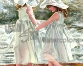 """Girl Freinds, Sisters, Dance, Promenade on the Beach Front Waves, Children Watercolor Painting Print, Wall Art, Home Decor, """"Darlin Dancers"""""""