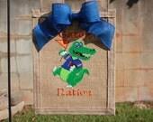 Gator Nation embroidered  burlap garden flag
