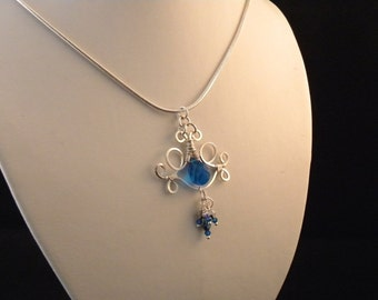 Celtic London Blue and Silver Wire Wrapped Pendant