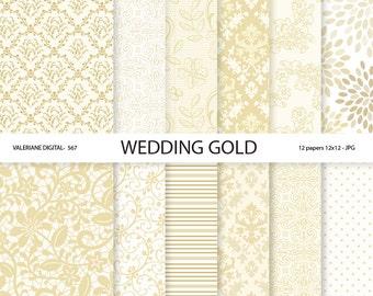 Wedding Digital Paper, Gold wedding digital paper, wedding digital backgrounds, lace digital paper - INSTANT DOWNLOAD Pack 567