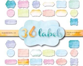 36 Watercolor Frames , Watercolor digital frame clipart, Digital Labels watercolor clipart,  watercolor frames - 616