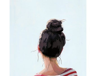 "8x10"" hair art - bun print - ""Top Knot 24"""