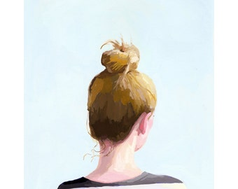 "5x7"" hair art - bun print - ""Top Knot 25"""