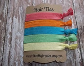 FOE Elastic Hair Ties FUN in the SUN Collection Strawberry, Orange, Turquoise, Spring Green, Lemon Yellow Toddlers Girls Women -Set of 5-