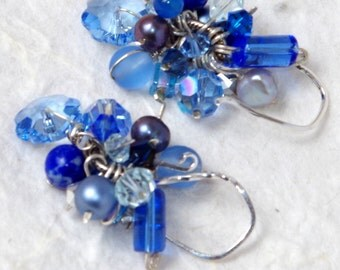 Hand-crafted Earring, Fine Silver, Sterling Silver, Swarovski Crystal, Freshwater Pearl, Chandelier, Delicate