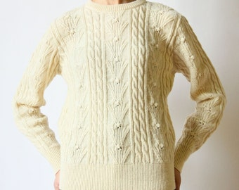 70s Cable Knit Sweater, Ivory Wool Pendleton Fisherman Pullover preppy minimalist rustic hipster outdoorsy boho Knockabouts winter white top