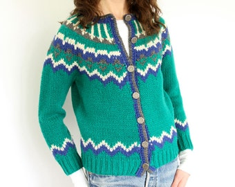 Wool Fair Isle Cardigan Sweater Emerald Green Lopapeysa Knit style cozy button front boho campus preppy office layer Shetland jacket