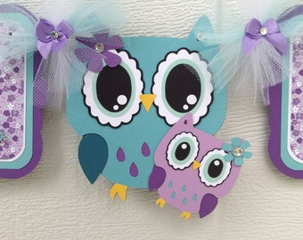 Owl baby shower, baby shower banner, owl banner, owl baby, it's a girl banner, teal and purple decorations, teal owl banner, photo prop