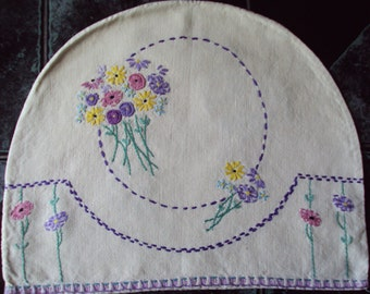 Vintage Hand Embroidered Cream Linen Tea Cosy or Teapot Cover Floral Art Deco Handmade Time for Tea