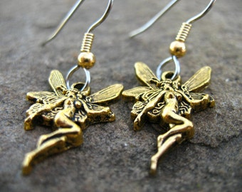 Surgical Stainless Steel Fairy Earrings, Gold Fairy on Hypoallergenic Steel, 1pair
