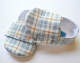 Light Blue Baby Boy Soft Soled Shoes - Infant Loafer Boy Shoes