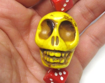 Big Daddy Roll Of The Dice Yellow Sugar Skull Key Ring Pendant Keychain