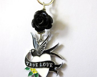 Black Rose Tattoo Style True Love Heart Bird Necklace