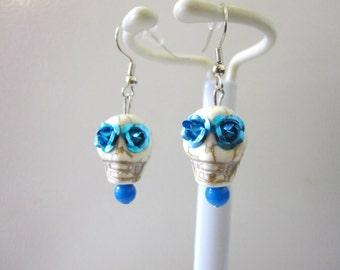 Day of The Dead Earrings Sugar Skull White Turquoise Blue Eyes