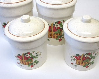 Canisters Oatmeal Basket Strawberries Set Of Four Strawberry Cannisters