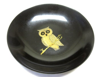 Couroc Plate Owl Crown Midcentury Barware Black Gold Utility Dish