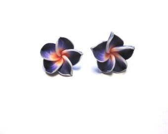Purple Flower Earrings Sweet Hibiscus Post Stud