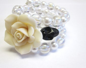 Sugar Skull Bracelet Day Of The Dead Wrap Cuff Black White Rose