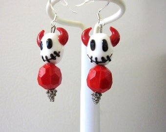 Stitch Devil Skull Earrings Day of the Dead Black White Red Jewelry Lampwork