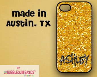Custom Phone Case iPhone 6 5/5S 4/4S Samsung Galaxy S4 S5 - Glitter Bling Gold - Monogrammed Personalized