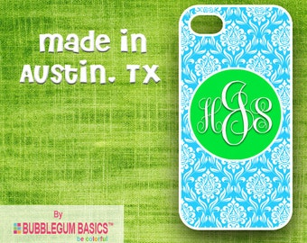 Custom Phone Case iPhone 6 5/5S 4/4S Samsung Galaxy S4 S5 - Teal Blue Damask Green Circle - Monogrammed Personalized