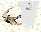 Organic onesie, vintage bird onesie, floral, baby girl