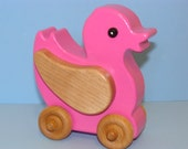 Wooden Easter Pink DUCKY on the Go - a great baby gift idea