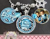 CHEER MOM Necklace- Triple Pendant-Fully Customizable Team Name, Zebra Print, Photo Pendant, Star Charm, Dance, Cheer, Pom Mom. Cheerleader