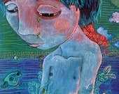 Blue sad boy or girl in the ocean with fishes. Artprint - heavy paper 14,5cm x19cm