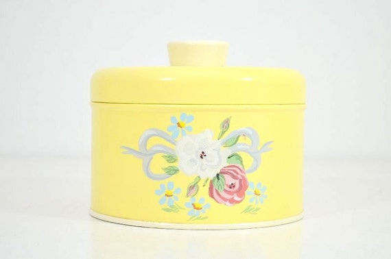 Vintage Genuine Ransburg Yellow Floral Hand Painted Tin Canister