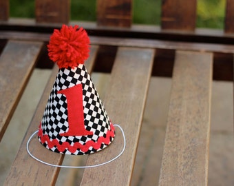 First Birthday HAT ONLY Race Car Nascar Black White and Red 1st Birthday Outfit Toddler Baby Boy or Girl