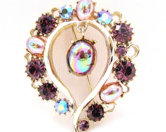 Vintage Lisner Brooch Purple AB Rhinestones, Heart Pin