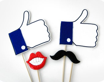 Facebook Likes Photo Booth Props - Facebook Likes, mustache and lips photo booth prop - Photo Booth Prop  - Wedding photo booth prop set