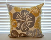 Hibiscus Floral Pillow Cover in Indoor/Outdoor Fabric