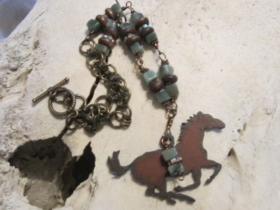 Horse jewelry,western jewelry,rustic jewelry,copper jewelry,metal jewelry.boho,country girl,cowgirl jewelry
