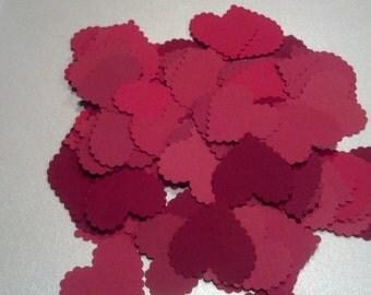 100 Red Scalloped Valentine Hearts Die Cuts Confetti Die Cuts Embellishments 1 1/4 inch