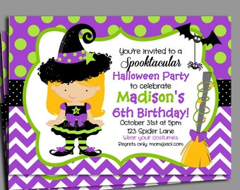 Halloween Invitation Printable or Printed with FREE SHIPPING - Birthday, Halloween Party - You Pick Hair Color/Skin Tone