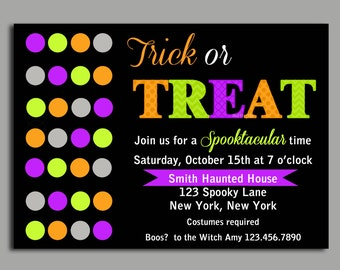 Halloween Invitation Printable - Trick or Treat Modern Chic Collection - Halloween Party or Birthday