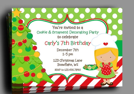 Christmas Invitation Printable or Printed with FREE SHIPPING – Cookie Decorating Party Invitations