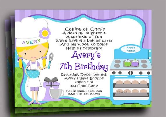 Chef Cupcake Baking Birthday Invitation Printable Or