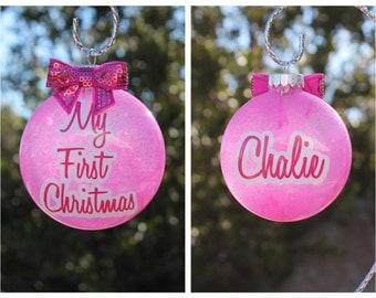 Custom/Personalized Glitter Ornament for Christmas Baby's First Christmas Family Ornament