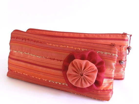 Will You Be My Bridesmaid Pink Coral Hawaii Wedding Clutches, Set of 4 Gift Bags for Bridesmaids