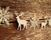 Christmas garland, deers and snowflakes