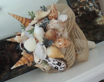 Genuine Seashell Bouquet - Beach Wedding Bouquet